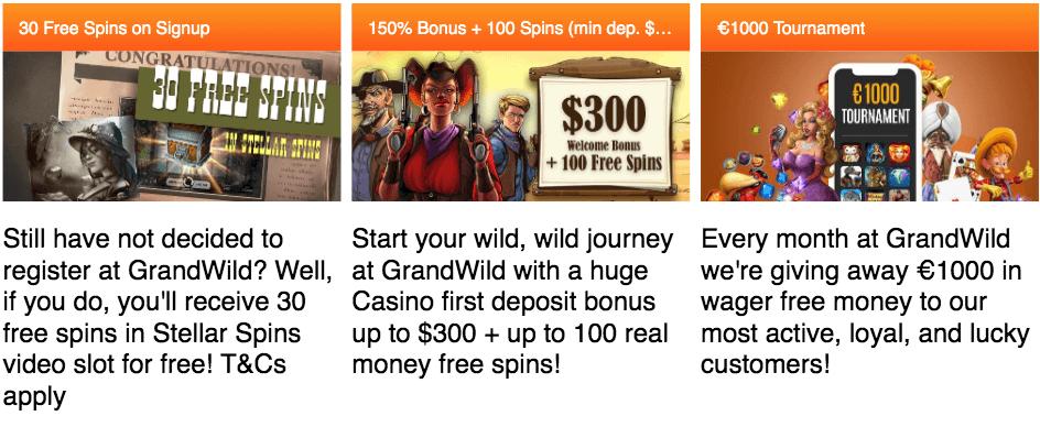 GrandWild Bonuses & Codes → September 2019