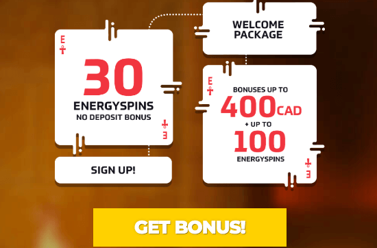 ★ 30 No Deposit Spins + Deposit and Get a Welcome Package up to C$400 + 100 Free Spins at Energy Casino