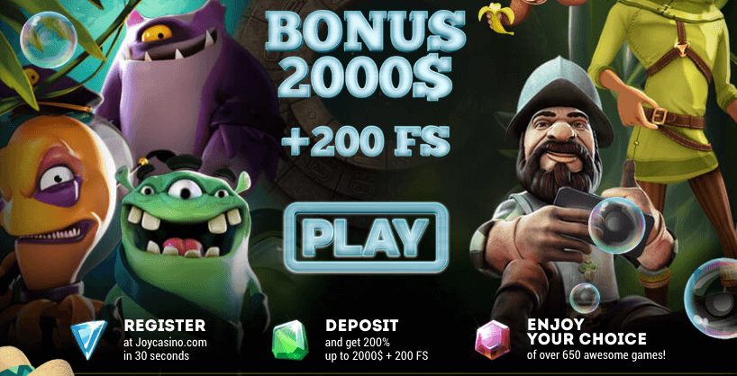 ★ Welcome Bonus of 200% up to C$2000 + 200 Free Spins at Joy Casino