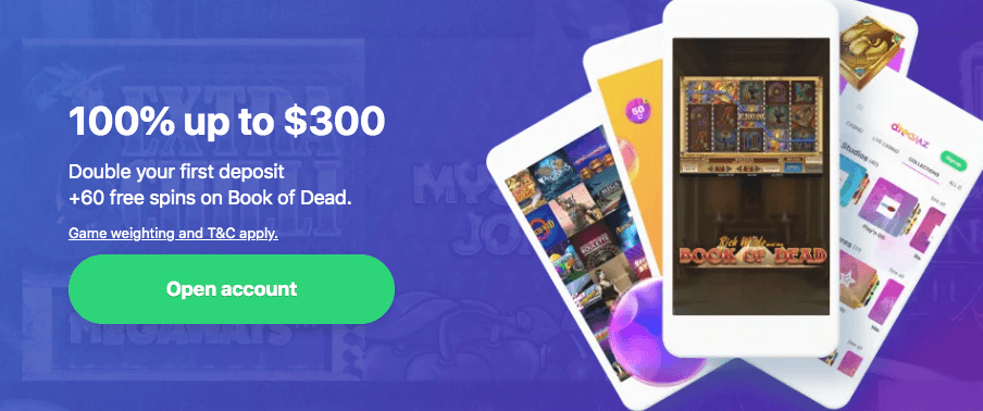 ★ 10 No Deposit Free Spins + 100% Welcome Bonus up to C$300 + 50 Free Spins on Book of the Dead at Dreamz Casino