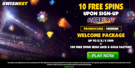 ★ 10 Registration Free Spins + C$1000 Welcome Package + 100 Free Spins at SwishBetCasino