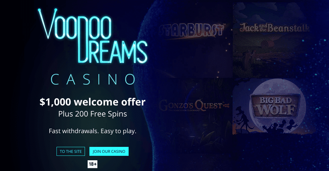 ★ 20 No Deposit Spins + C$1000 Welcome Package + 200 Free Spins on Book of Dead at Voodoo Dreams