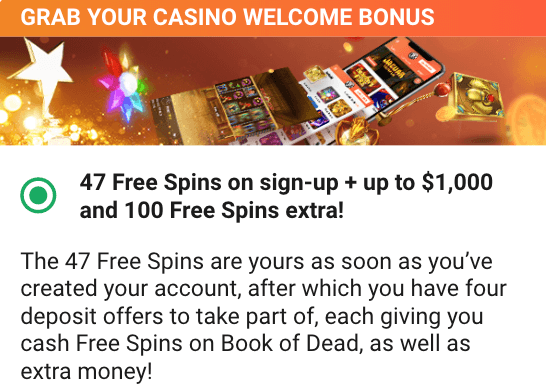 ★ 47 Free Spins with No Deposit on Book of Dead at Leo Vegas