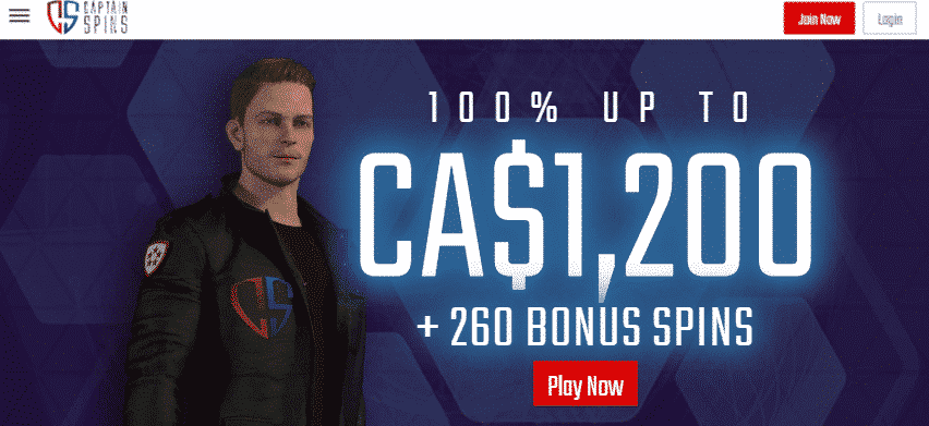 ★ Welcome Package up to C$1200 + 260 Free Spins on Book of Dead at Captain Spins