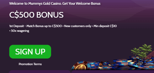 ★ C$500 Welcome Bonus at Mummys Gold Casino
