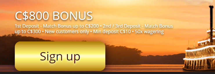 ★ 100% up to C$200 on First Deposit at River Belle Casino