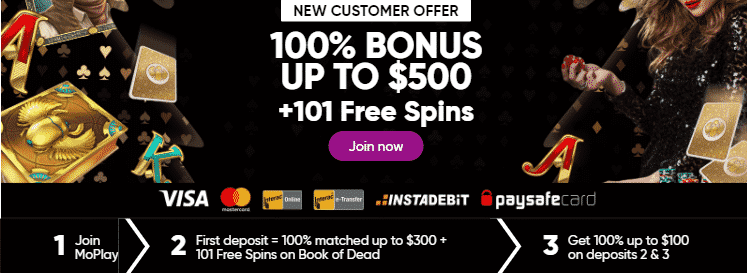 ★ 100% up to C$300 + 101 Wager-Free Spins on Book of Dead on First Deposit at MoPlay Casino