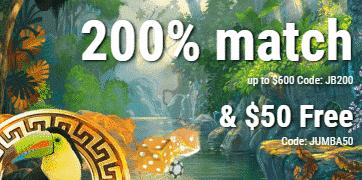 ★ 200% First Deposit Bonus up to C$600 at Jumba Bet