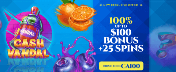 ★ First Deposit Bonus of 100% up to C$100 + 25 Free Spins on Cash Vandal at Atlantic Spins