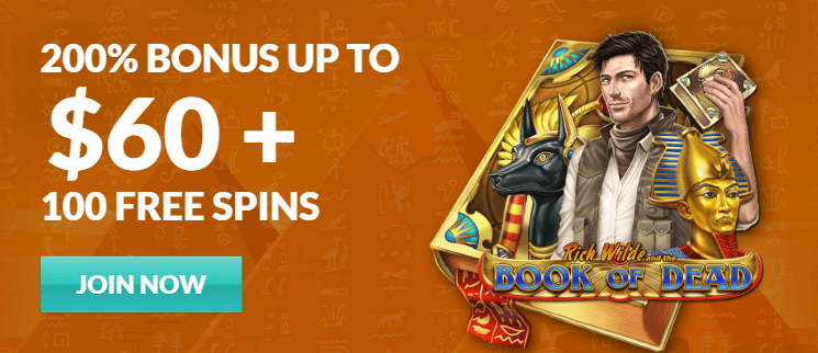 ★ 200% First Deposit Bonus up to C$60 + 100 Free Spins on Book of Dead at SlotJoint