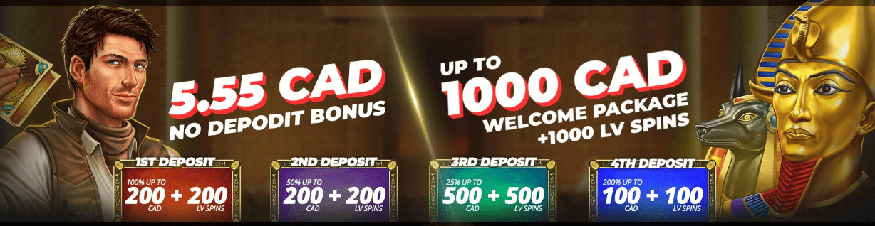 ★ C$5.55 on Sign Up + C$1000 and 1000 Free Spins Welcome Bonus at LVBET