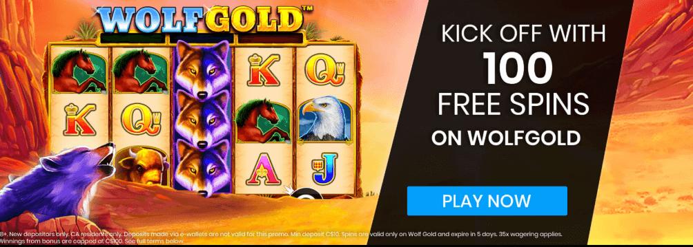 ★ 100 Free Spins on WolfGold Welcome Bonus at MrPlay Casino