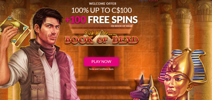 ★ 100% First Deposit Bonus up to C$100 + 100 Free Spins on Book of Dead at Lucky Vegas