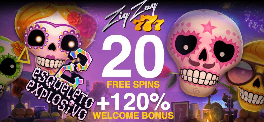 ★ 20 No Deposit Free Spins at ZigZag777.com