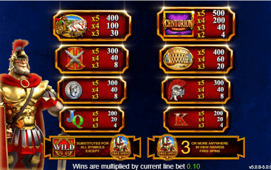 Play centurion for free slots