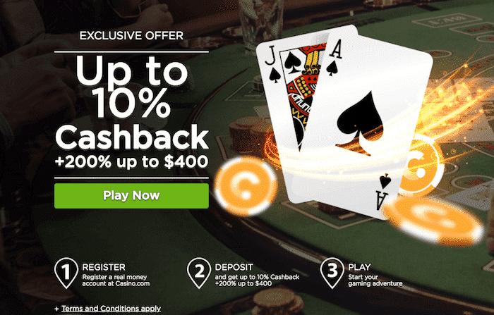 ★ 200% First Deposit Bonus up to C$400 at Casino.com