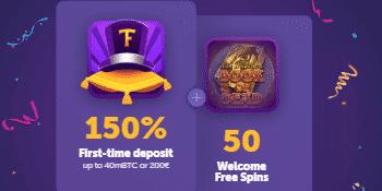 ★ 150% First Deposit Bonus up to C$200 + 50 Free Spins on Book of Dead at True Flip Casino