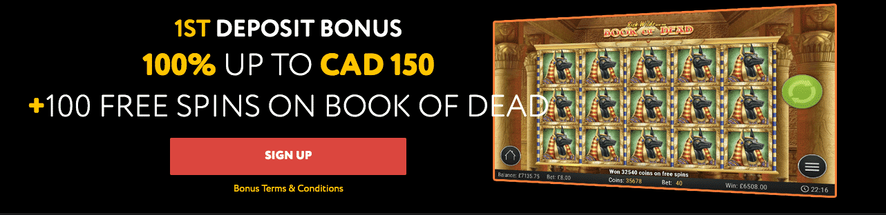 ★ First Deposit Bonus of 100% up to C$150 + 100 Free Spins on Book of Dead at BetsEdge Casino