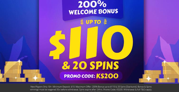 ★ 200% Welcome Bonus up to C$110 + 20 Free Spins on Starburst at Kaiser Slots