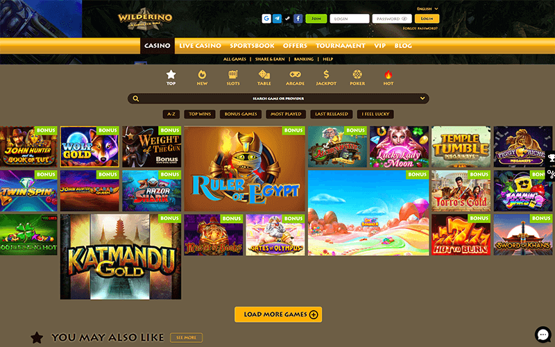 Wilderino Casino Games Preview