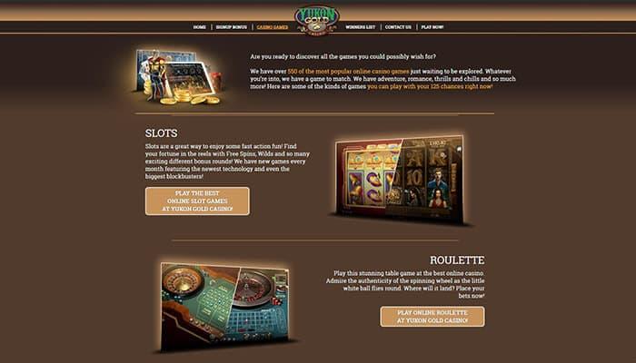 Yukon Gold Casino Games Preview