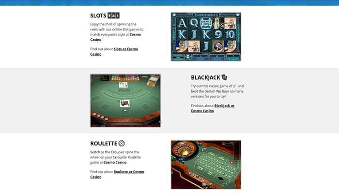 Cosmo Casino Games preview