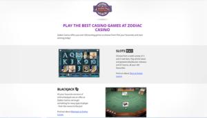 Zodiac Casino Games Preview