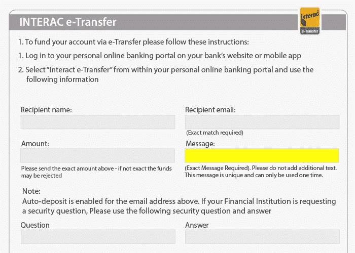 Interac e-Transfer Recipient ID
