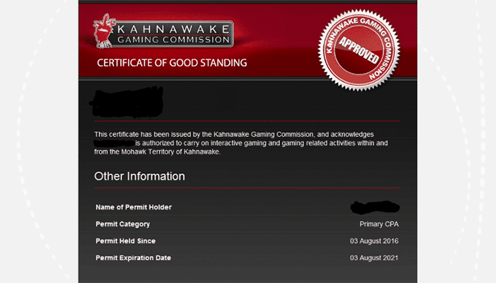 Here's an example of a Kahnawake Certificate of Good Standing