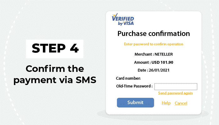 Confirm the payment via SMS