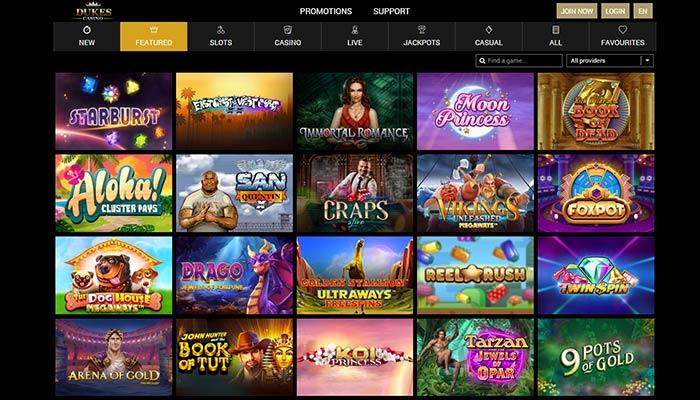 Dukes Casino Games Preview