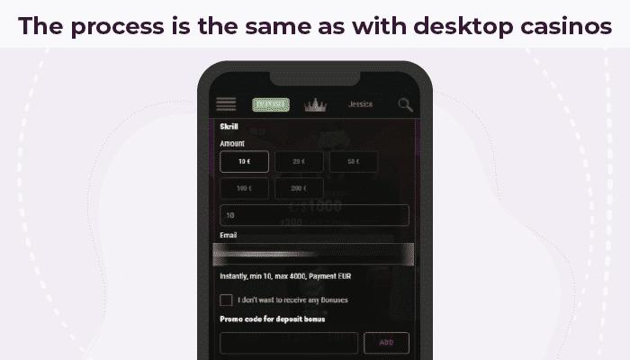 Deposit with Skrill on desktop or mobile