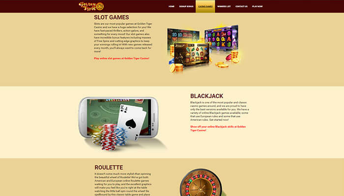 Golden Tiger Casino Type of Games Preview