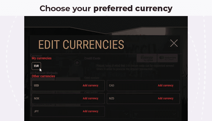 Choose your currency