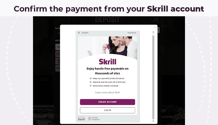 Confirm payment from Skrill account