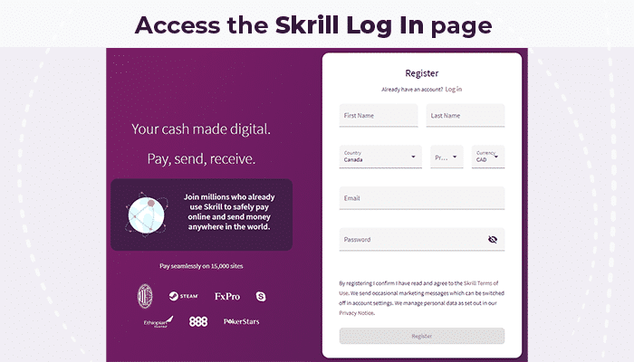 Acces the Skrill Log In page