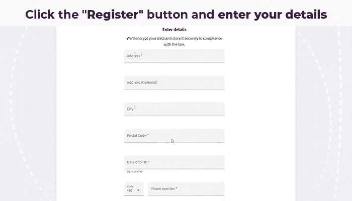Register Button Skrill account