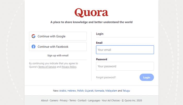 Creating an Quora account