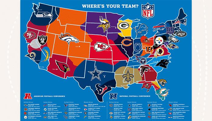 Official NFL team map
