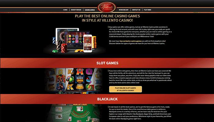 Villento Casino Games Preview