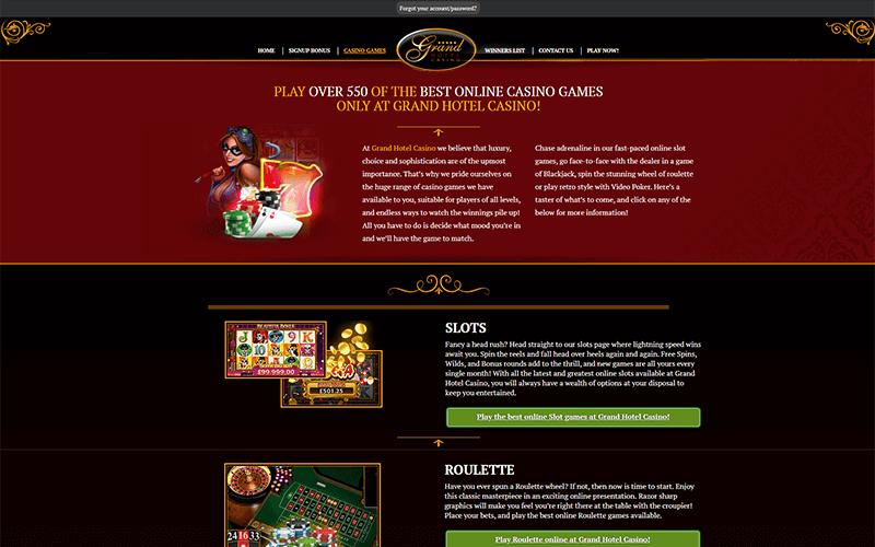 Grand Hotel Casino Games Preview