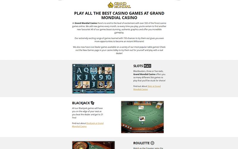 Grand Mondial Casino Games Preview