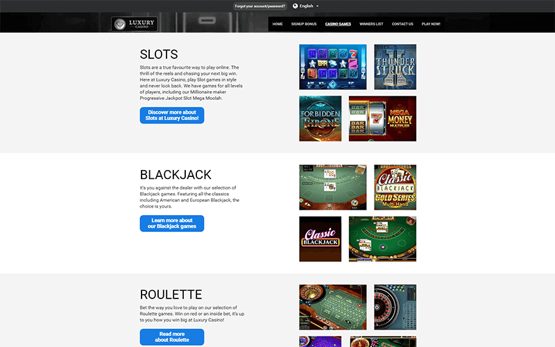 Luxury Casino Games Preview