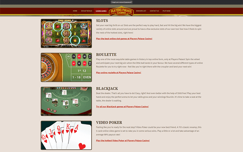 Players Palace Casino Games Preview