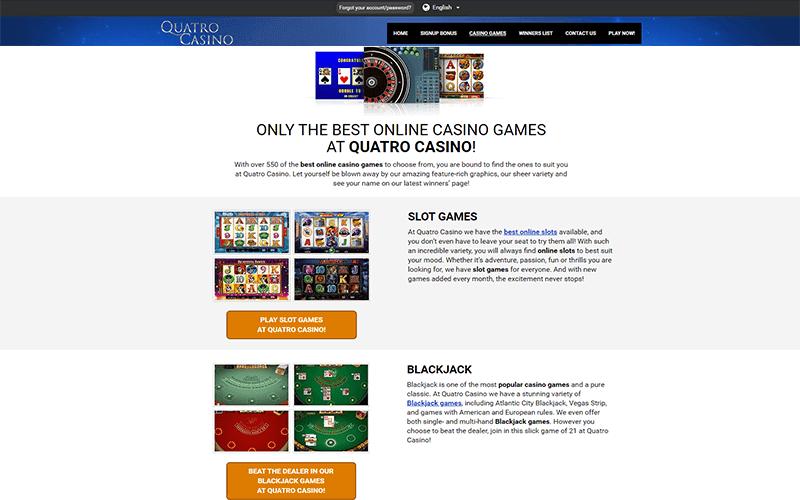 Quatro Casino Online Games Preview